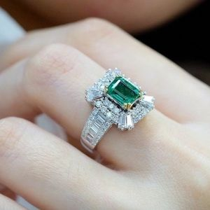 Emerald and white sapphire green square ring